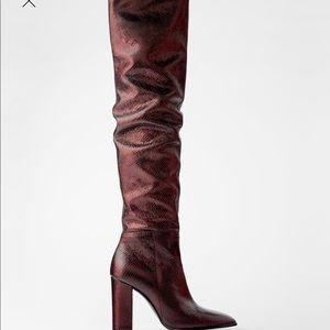 ZARA Genuine leather boots hight over the knee
